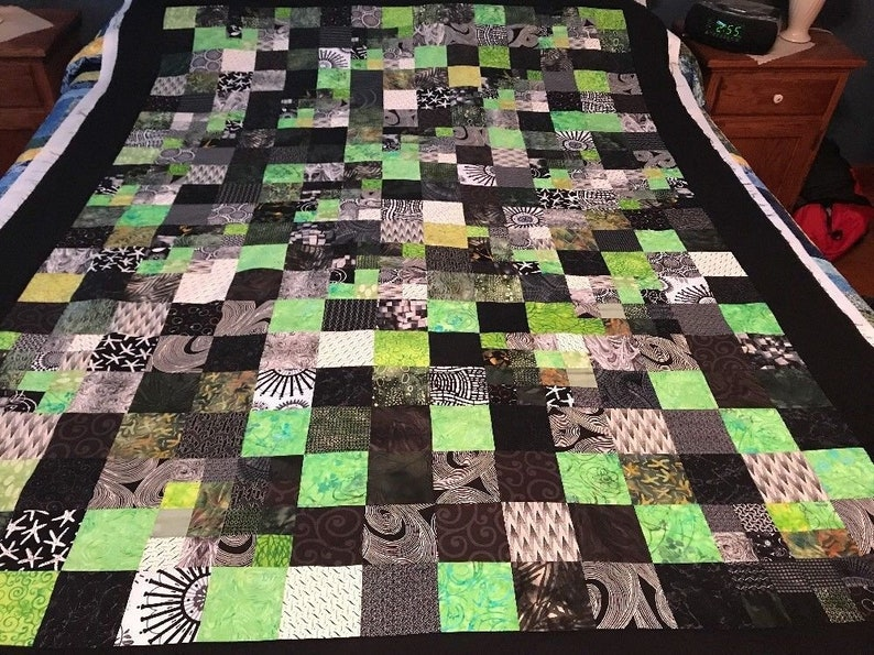 Geometric Green and Black Batik Lap Quilt 53 x image 0