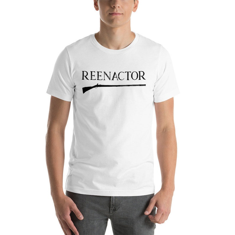 Reenactor Muzzleloader Flintlock Black Powder Rifle Unisex T Shirt,  Historical Living History Colonial Reenactment, History Buff