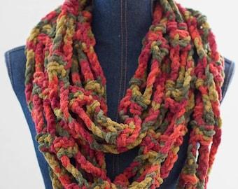 Handmade Crochet Scarf, Neckwarmer, Neckwarmer Scarf, Shawl, Shoulder Wrap, Cowl Scarf, Cowl, Crochet Scarf, Wrap, Infinity Scarf, Orange