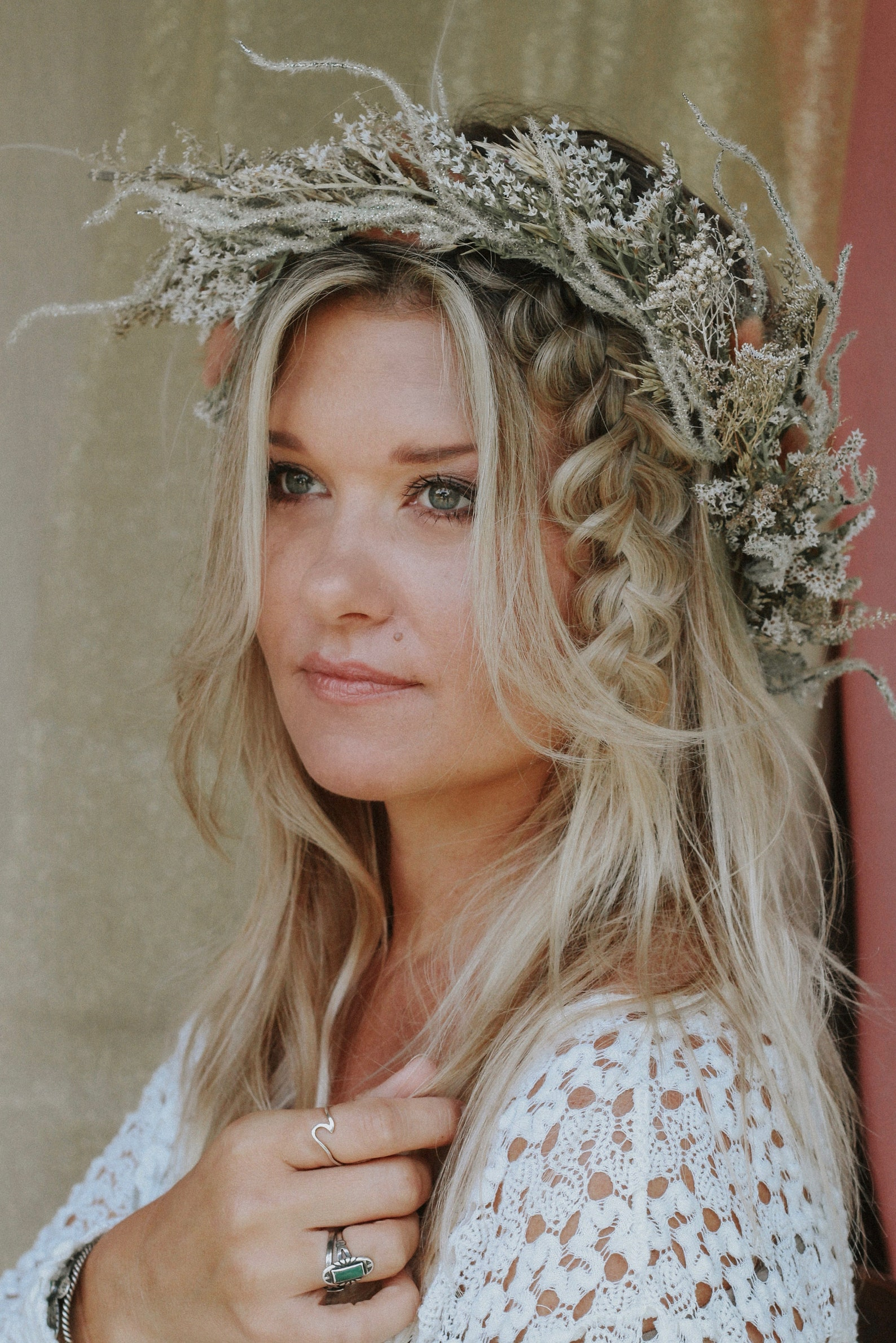 Wedding Hair Accessories Ideas for Boho Chic Brides, Forest Fairytale Hair Vrown Silver Sprigs and Bunny Tales
