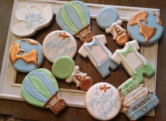 World Travel Boy Baby Shower Cookies One Dozen Etsy