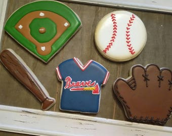 Customizable Baseball Cookies - One Dozen