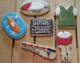 Camping, Fishing, Kayaking, Outdoor Cookies - One Dozen
