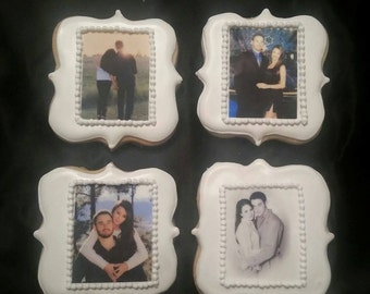 Custom Photo Cookies with Edible Image - Anniversary, Wedding, Shower