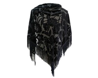 51217f83f Floral Silk Velvet scarf tassels piano shawl in black.Vintage ladies  triangular scarf unique burnout velvet wrap.LaZLeP P81A6