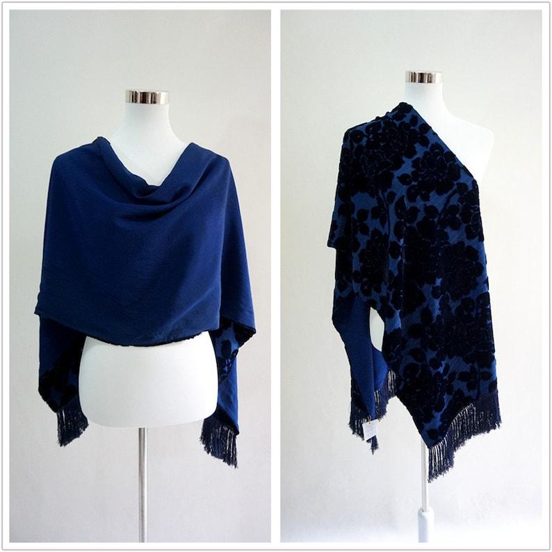 16d02559f Floral double layer Silk Velvet & Silk crepe scarf tassels | Etsy