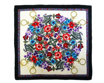 Floral designer 100% silk scarf 78cm twill artist print in blue red colorful.Vintage summer scarf.Women ladies silk shawl.LaZLeP S611422
