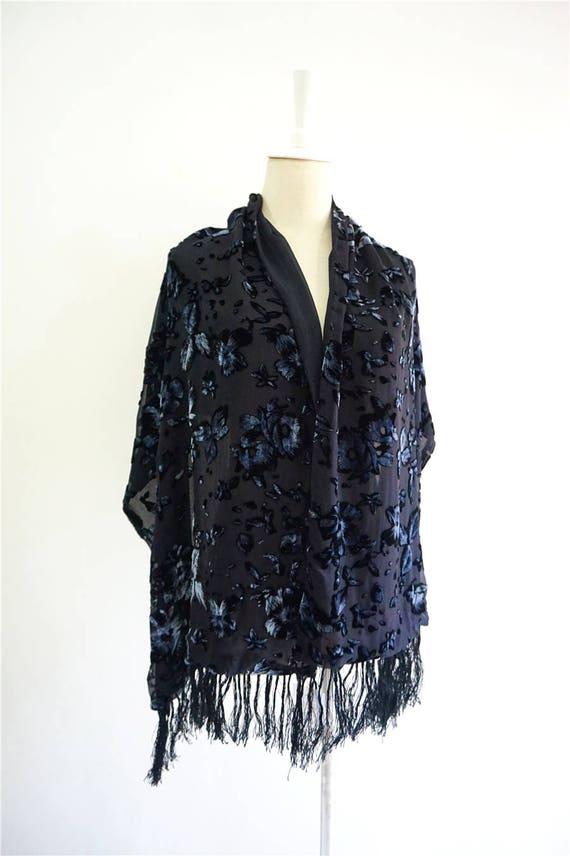 f88aa4c29 Double faces Silk Velvet & Georgette evening shawl tassels | Etsy
