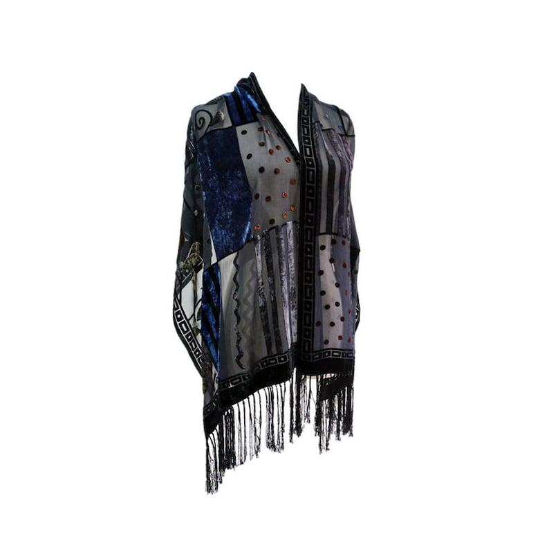 77ba33297 Unique Silk Velvet scarf tassels evening shawl in black | Etsy