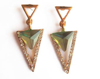 LIGHT PALE GREEN Triangle Dangle Crystal Earrings
