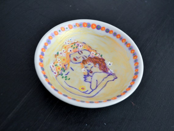 Joy Dessert Plate--Mother and Child--Hand Painted Dish--Unique Gift Ideas for BirthdayHostessMother/'s DayBaby ShowerHolidayChristmas