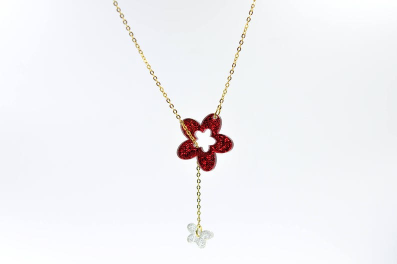 Silver Glitter Butterfly Y Necklace Red Glittler Flower Drop Necklace Lariat Necklace Designer Necklace Laser Cut Acrylic Jewelry