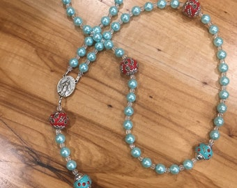 Turquoise and Red Rosary