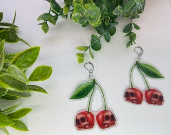 Skull cherry earrings