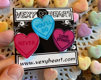 Never , You'll Do, Love stinks Bittersweet sweetheart pin pack of 3, Valentine day, candy
