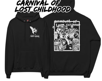 Carnival of lost childhood pull over hoodie, gothic horror, 90 cartoons,toys , creepy , scary , nightmare