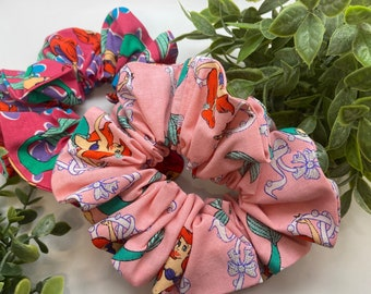Little mermaid up-cycled XL Scrunchie available in hot pink or light pink