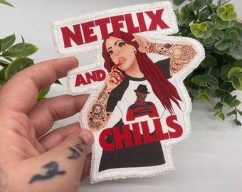 Netflix and chills , horror movie lover cloth sew on patch