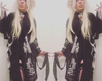 Dark priestess ,long sleeve , kimono , robe , gothic , witch