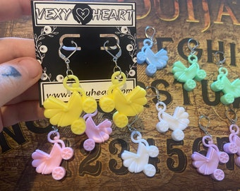 Pastel Baby stroller , carriage earrings