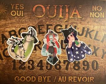 3 sticker pack beetlejuice girl, coraline & sally , Weatherproof