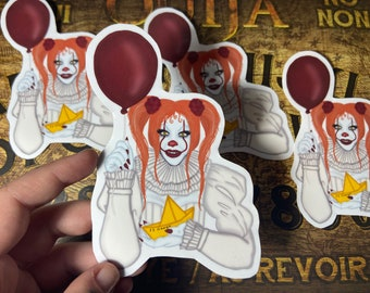 Pennywise clown from it sticker , horror movie, cult classic,