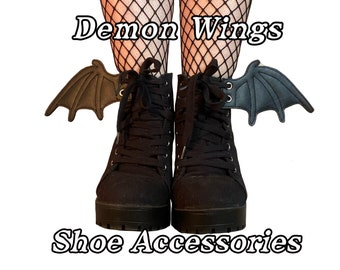 Demon wing shoe accessories in black