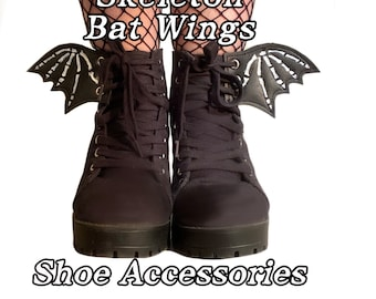 Skeleton bat wing shoe accessories, add on to any shoe, boot, roller skate with laces