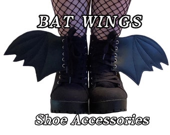 Bat wing add on shoe accessories , goth shoes, gothic , witchy , larger size available of bat wings