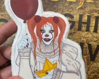 Pennywise the clown from it, cloth patch , cult classic, horror movie , pop culture