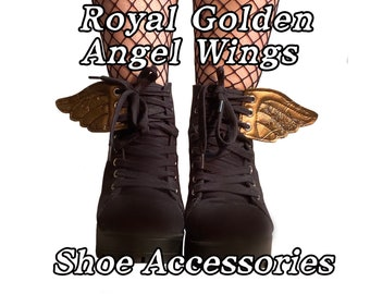 Royal golden angel wings shoe accessories , as to any pair to shoes, boots or roller skates with laces