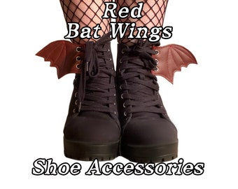 Red baby bat wing shoe accessories, add on to any shoe, boot or roller skate with laces