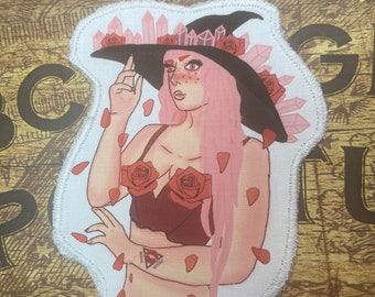 Love witch sew on cloth patch , rose , Valentine