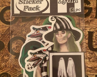 Beetlejuice & Lydia sticker pack of 5