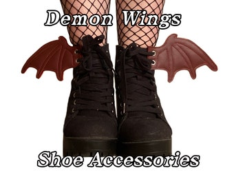 Red demon wing shoe accessories, add on to any shoe, boot , roller skate with laces