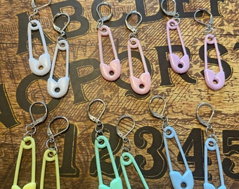Pastel safety pins earrings, available in 5 colours