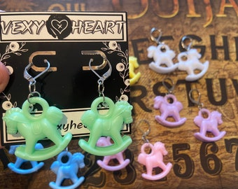 Pastel Rocking horse earrings, available in 6 colours