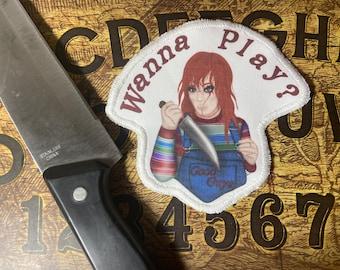 Chucky doll, wanna play cloth patch