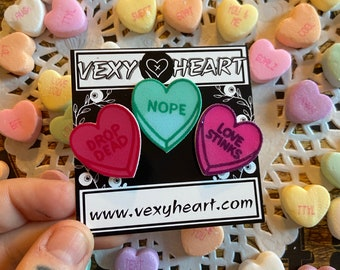 Drop dead, Nope , Love stinks Bittersweet sweetheart pin pack of 3, Valentine day, candy