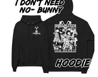 I don't need no-bunny pull over hoodie, gothic horror