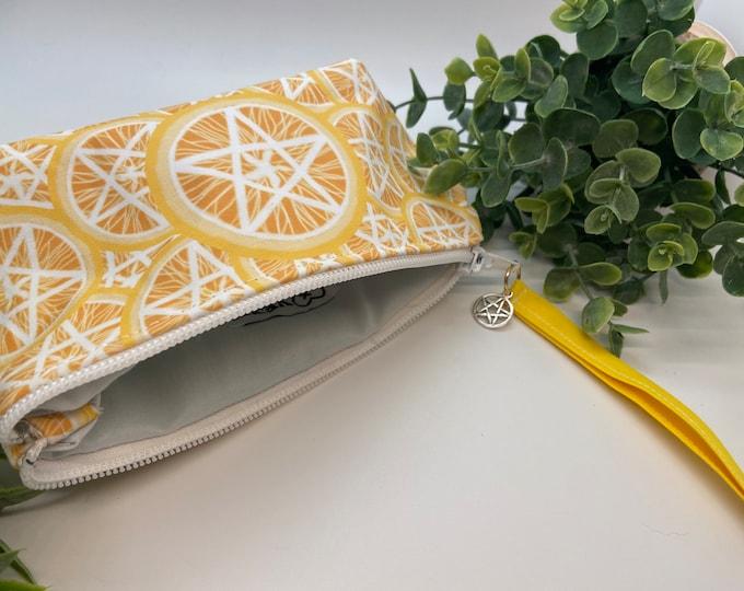 Featured listing image: Pentagram Orange slice coin pouch, makeup bag , purse