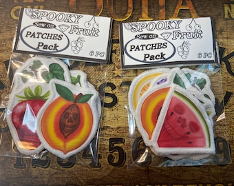 Spooky fruit sew on cloth patches pack. Comes with 6 pc