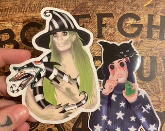 Sticker pack of two , beetlejuice, coraline, Tim burton , witches, halloween , Weatherproof
