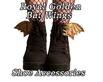 Royal golden batwings shoe accessories, add on to any shoe,boot or roller skates with laces