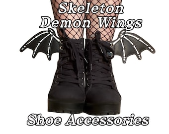 Skeleton demon shoe accessories, add on to any shoe, boot, roller skate with laces
