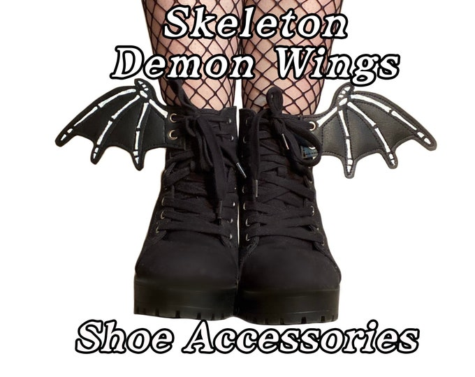 Featured listing image: Skeleton demon shoe accessories, add on to any shoe, boot, roller skate with laces