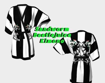 Beetlejuice sand worm kimono robe, striped black and white , Tim burton, Halloween, gothic