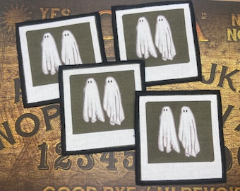 Large ghost Polaroid sew on patch from beetlejuice, 10 cm / 4 inches , Halloween