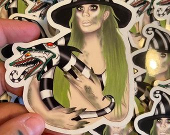 Beetle juice witch girl sticker, Tim burton , Halloween, Weatherproof