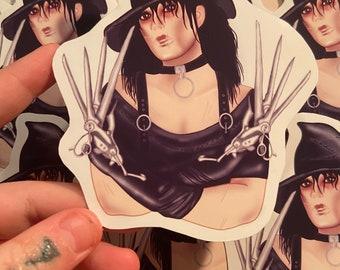 Miss Edward scissorhands sticker, vinyl, goth girl